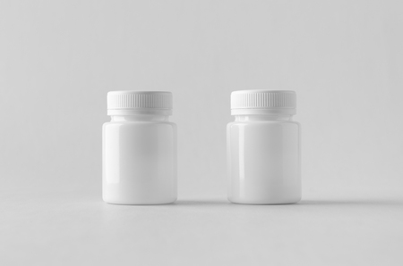 White plastic supplement / medicine mock-up. Banco de Imagens - 115963485