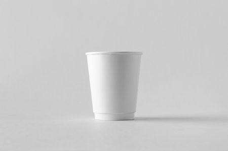 8 oz. white double wall coffee paper cup mock-up without lid. Banco de Imagens - 115963487