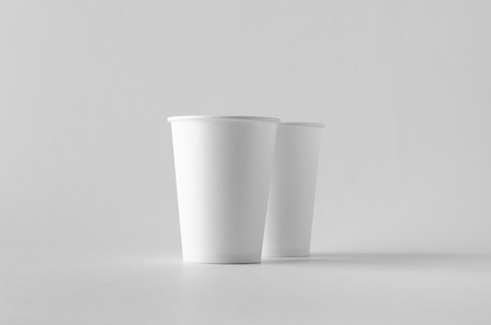12 oz. white coffee paper cup mock-up without lid. Banco de Imagens - 115963495