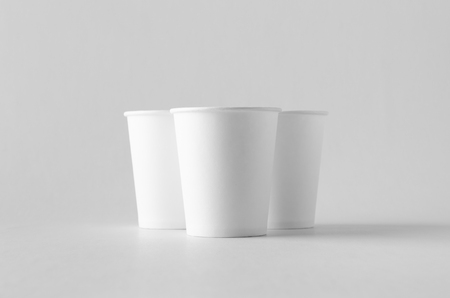 8 oz. white coffee paper cup mock-up without lid. Banco de Imagens - 115963499