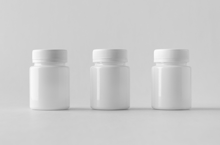 White plastic supplement / medicine mock-up. Banco de Imagens - 115963509