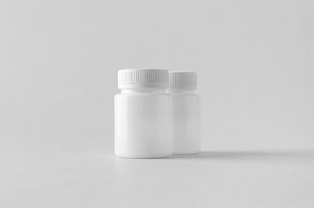 White plastic supplement / medicine mock-up. Banco de Imagens - 115963512