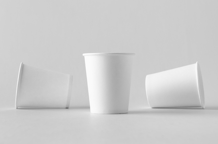 8 oz. white coffee paper cup mock-up without lid. Banco de Imagens - 115963529