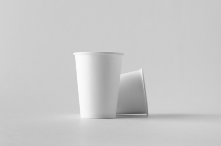12 oz. white coffee paper cup mock-up without lid. Banco de Imagens - 115963532