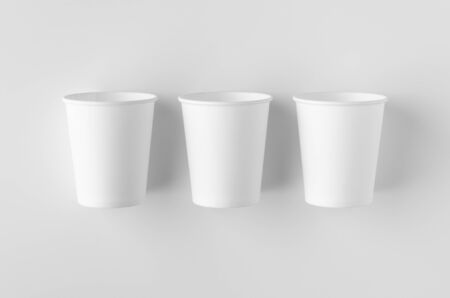 Top view of a 8 oz. white coffee paper cup mockup without lid. Banco de Imagens - 126254260