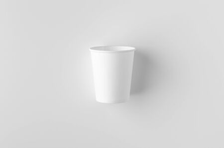 Top view of a 8 oz. white coffee paper cup mockup without lid. Banco de Imagens - 126254282
