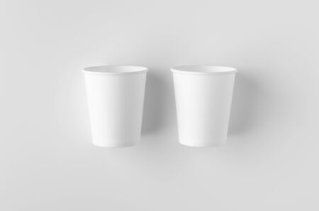 Top view of a 8 oz. white coffee paper cup mockup without lid. Banco de Imagens - 126254283