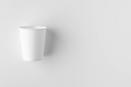 Top view of a 8 oz. white coffee paper cup mockup without lid. Banco de Imagens - 126254284
