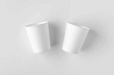 Top view of a 8 oz. white coffee paper cup mockup without lid.