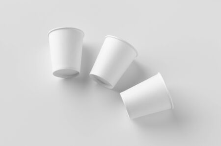 8 oz. white coffee paper cup mockup without lid. Banco de Imagens - 126254287