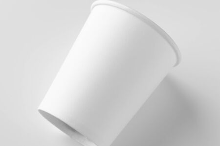 8 oz. white coffee paper cup mockup without lid.