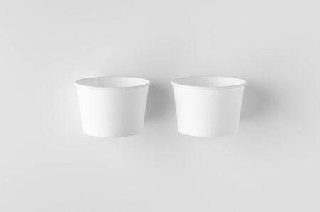 Top view of a white ice cream paper cup mockup. Banco de Imagens