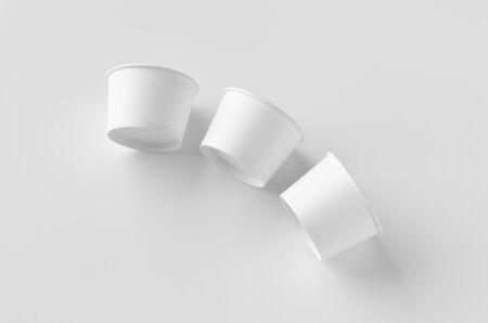 White ice cream paper cup mockup. Banco de Imagens