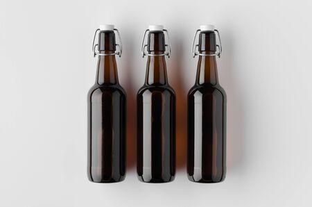 Top view of a beer bottle mockup. Banco de Imagens - 126254350