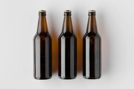 Top view of a beer bottle mockup. Banco de Imagens - 126254354