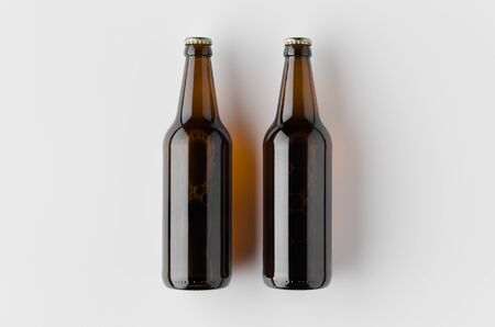 Top view of a beer bottle mockup.
