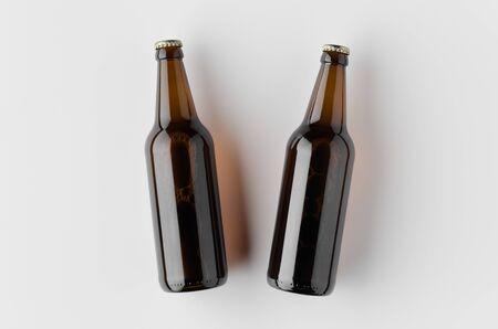 Top view of a beer bottle mockup. Banco de Imagens - 126254363