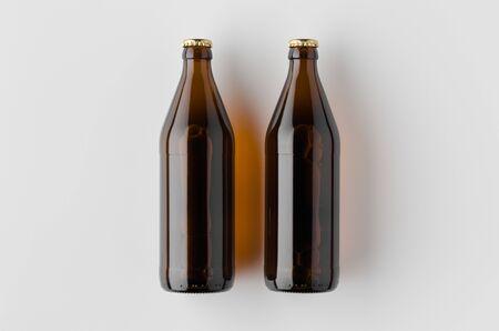 Top view of a beer bottle mockup. Banco de Imagens - 126254377