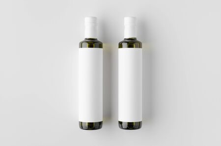 Olive / sunflower / sesame oil bottle mockup. Top view, blank label. Banco de Imagens - 126254408