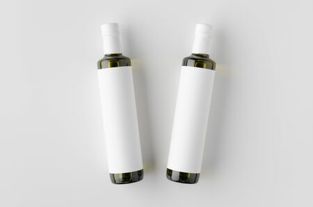 Olive / sunflower / sesame oil bottle mockup. Top view, blank label. Banco de Imagens - 126254409