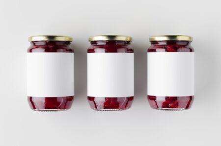 Pickled beets jar mockup. Top view, blank label.
