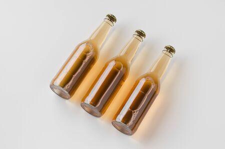 Clear longneck beer bottle mockup.