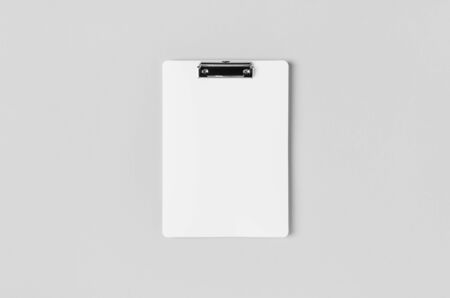 White clipboard mockup. Top view.