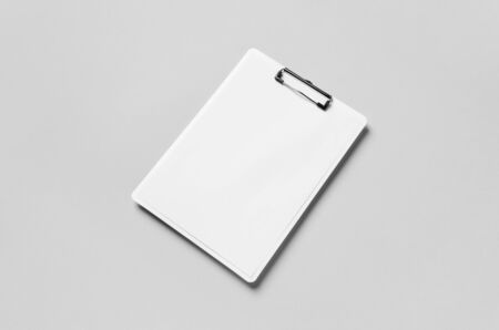 White clipboard mockup with a blank paper.