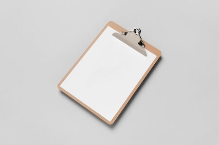 Wooden clipboard mockup with a blank paper. Banco de Imagens - 126254446