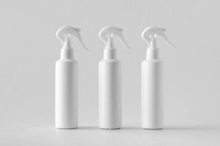 White cosmetic trigger sprayer bottle mockup.