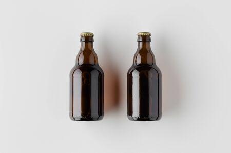 Top view of two beer bottles mockup.
