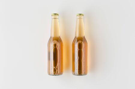 Top view of two beer bottles mockup. Banco de Imagens - 126254524
