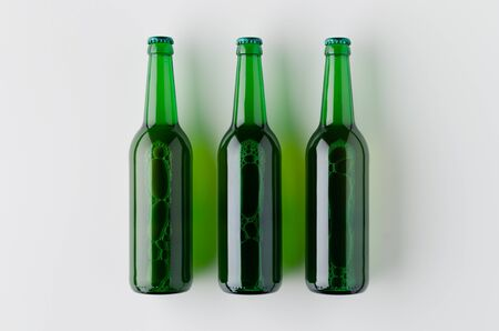 Top view of three beer bottles mockup. Banco de Imagens - 126254530