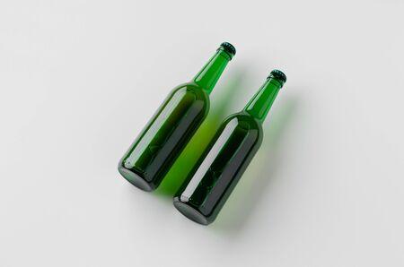 Green longneck beer bottle mockup. Two bottles.