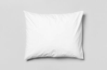 White blank pillowcase mockup. Grey background.