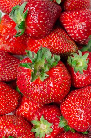 Closeup of a bowl of strawberries