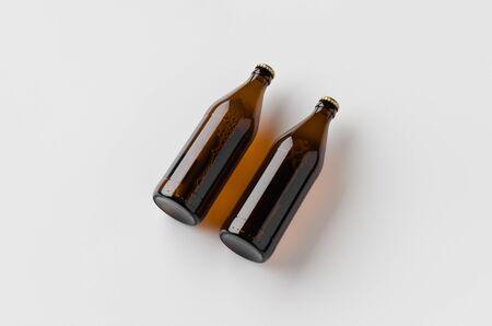 Euro beer bottle mockup. Two bottles.