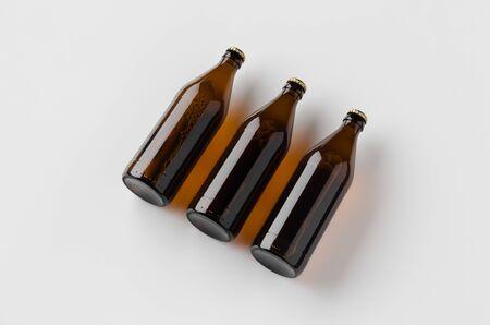 Euro beer bottle mockup. Three bottles. 写真素材
