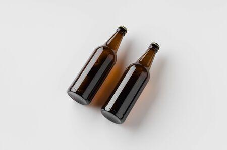 Beer bottle mockup. Two bottles. 写真素材