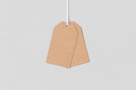 Kraft clothing or gift tag mockup. Banco de Imagens