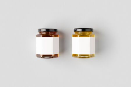 Hexagonal honey jars mockup with blank label. Two different colors. Reklamní fotografie