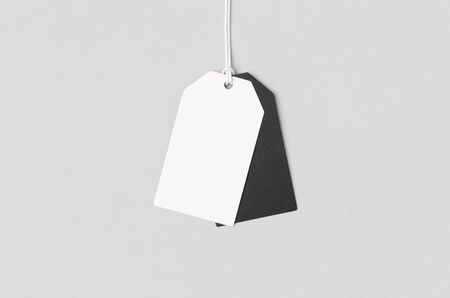 White and black clothing or gift tag mockup.
