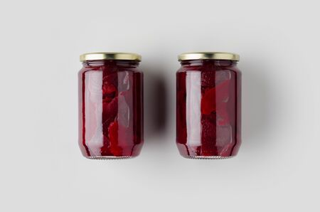 Pickled beets jar mockup. Top view.