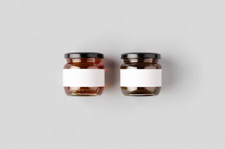 Honey jars mockup with blank label. Two different colors.