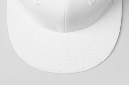 White snapback cap mockup closeup. 版權商用圖片