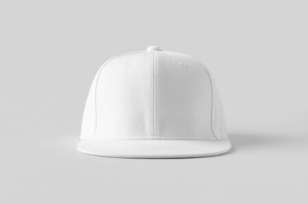 White snapback cap mockup on a grey background, front view.
