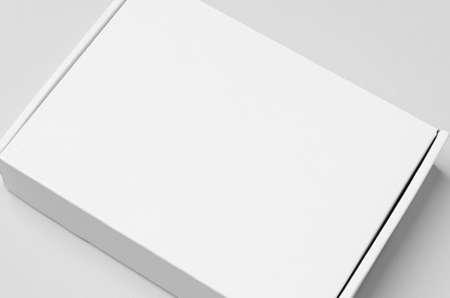 White cardboard postal, mailing box mockup, closeup. Reklamní fotografie