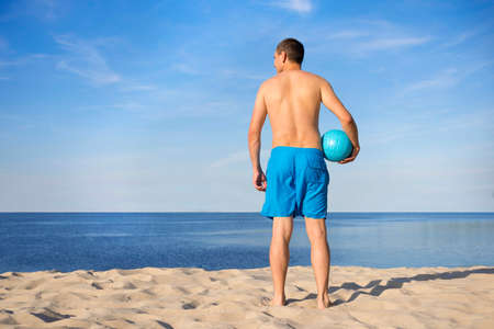Man Beach Summer Holiday Vacation Volleyball Concept.