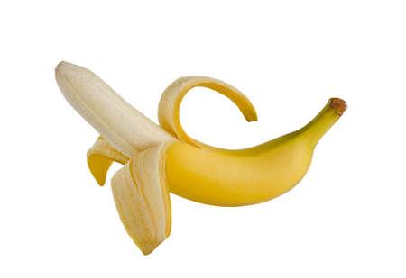 Half peeled banana isolated on a white background Reklamní fotografie