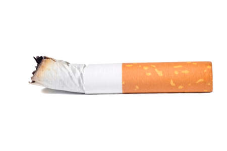 The only cigarette burn isolated at the white background